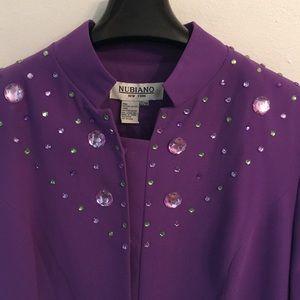 🦊 Nubiano women's purple embellished jacket. NWOT